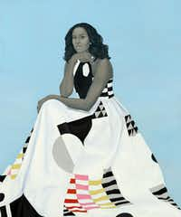 The official portrait of former First Lady Michelle Obama by artist Amy Sherald(Amy Sherald/National Portrait Gallery via the Associated Press)