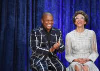 Artists Kehinde Wiley and Amy Sherald at the Smithsonian National Portrait Gallery on Feb. 12(Matt McClain/The Washington Post)