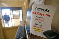 A note for drivers is attached to a computer monitor at McShan Florist in Dallas.(Jae S. Lee/Staff Photographer)