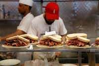 """Orders are ready to go out at Katz's Delicatessen in New York. The deli was featured in the 1989 film """"When Harry Met Sally.""""(Seth Wenig/AP)"""