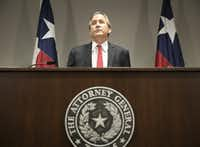 Texas Attorney General Ken Paxton announced Texas' lawsuit to challenge President Barack Obama's transgender bathroom order during a news conference on May 25, 2016. Texas and several other states sued the administration over its directive to U.S. public schools to let transgender students use the bathrooms and locker rooms that match their gender identity.(Jay Janner/The Associated Press)