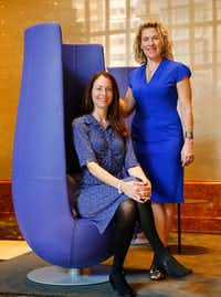 Sara Brand (seated) and Kerry Rupp, the partners  behind Austin-based venture capital firm True Wealth Ventures, want to help close the gender gap by investing millions of dollars in women-led startups. (Tom Fox/The Dallas Morning News)