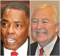 Plano Mayor Harry LaRosiliere (left) and councilman Tom Harrison