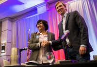 "<p></p><p></p><p>Former Dallas County Sheriff Lupe Valdez, left, shakes hands with fellow Democratic candidate for governor <a name=""firsthit""></a>Andrew White after they participated in a one-on-one debate at the Texas AFL-CIO COPE Convention last month at the Sheraton Austin hotel.&nbsp;</p><br><p><br></p><p></p>(Ashley Landis/Staff Photographer)"