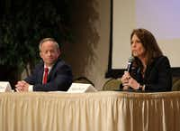 Candidates Phillip Huffines and Angela Paxton discuss their policies during a Republican Club legislative forum at Heritage Ranch Golf and Country Club in Fairview on Jan. 8, 2018.(Jason Janik/Special Contributor)