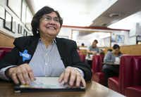 Gubernatorial candidate and former Dallas County Sheriff Lupe Valdez smiles during an interview at Norma's Cafe, where she's a regular customer, on Thursday, February 8, 2018 in Oak Cliff. (Ashley Landis/Staff Photographer)