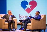 Plano Mayor Harry LaRosiliere (right) delivers the annual State of the City address with emcee Tim Ryan, Fox 4's Good Day Texas anchor, on Thursday at the Courtyard Theater in Plano.(Ashley Landis/Staff Photographer)