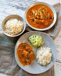 "<p><span style=""font-size: 1em; background-color: rgb(255, 255, 255);"">Instant Pot Keto Indian Butter Chicken, with rice and spiralized cucumbers.</span><span style=""font-size: 1em; background-color: transparent;""> </span></p>(David Woo/Staff Photographer)"