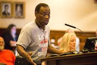 Willie Hudspeth speaks to Denton County commissioners in 2017. He's been doing that for almost 20 years.(Jake King/Denton Record-Chronicle)