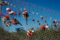 Flowers and crosses line a fence near the school on a makeshift memorial for the victims of the Marjory Stoneman Douglas High School shooting in Parkland, Fla., on Feb. 14.(Rhona Wise/Agence France-Presse)