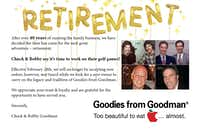 Brothers Chuck and Bobby Goodman are sending out this postcard to 2,000 customers, announcing their retirement and sale of their family's  101-year-old gift basket business.(Courtesy Goodies from Goodman)
