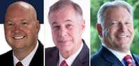 <p>From left: Chris Hill, Scott Johnson and Ray Ricchi are running in the Republican primary for Collin County judge.</p>