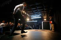 U.S. Congressman Beto O'Rourke walks onto the stage at the Emporium for the Arts in Woodville on Feb. 9, 2018.(Nathan Hunsinger/Staff Photographer)