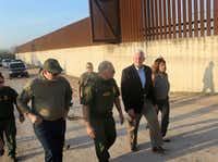 Vice President Mike Pence listened to Manuel Padilla, U.S. Border Patrol Rio Grande Valley sector chief, while touring the border wall with Sen. Ted Cruz and wife Karen Pence on Friday, Feb. 16, 2018, in Hidalgo, Texas. Pence spent the afternoon touring the U.S.-Mexico border and talking with federal law enforcement officers on their efforts to secure the border.(Nathan Lambrecht/The Monitor)