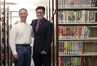 Alfred Hersh (left) and Luis Ruiz at the public library in Carrollton,  where they reconnected. Hersh is a retired teacher and part-time librarian. He ran into his former student, Luis, at the library, and was shocked to find out how much of an impact he'd had on Luis' life. (Anja Schlein/Special Contributor)