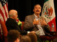 Former Mexican President Vicente Fox, right, speaks during the World Affairs Council's International Educator of the Year event at Belo Mansion in Dallas, Monday, Feb. 19, 2018.(Jae S. Lee/Staff Photographer)
