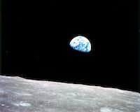 A photo from NASA of the Earth, as seen from the moon, during the Apollo 8 mission, Dec. 24, 1968. (NASA)