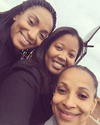Sharanda Jones, right, with attorney Brittany Barnett, center, and Jones' daughter Clenesha Garland after Jones was released from prison in December, 2015 She would have to stay at a halfway house until April 2016.(Brittany Barnett-Byrd)