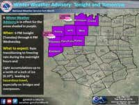 The National Weather Service has issued a winter weather advisory through Wednesday for areas northwest of Dallas-Fort Worth.<br>(National Weather Service<br>)