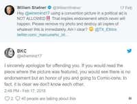From Twitter exchange between Texas House candidate Brandy Chambers and <i>Star Trek</i>&nbsp;star William Shatner.(Twitter/Twitter)