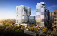 The three-tower development would replace two vacant insurance buildings on Turtle Creek.(HKS)