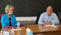 "<p>Sen. <a name=""firsthit"" id=""firsthit"" style=""""></a>Bob Hall, R-Edgewood, answers questions as Rep. Cindy Burkett, R-Sunnyvale, listens during an interview at The Dallas Morning News on Friday, Feb. 9. Burkett is challenging Hall for his state Senate seat. </p>(Vernon Bryant/Staff Photographer)"