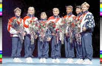 The 1996 U.S. Women's Gymnastics Olympic Team, with Dominique Moceanu third from left.(John Mottern/Agence France-Presse)