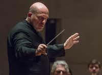 "Jaap van Zweden conducts the Dallas Symphony Orchestra as they perform Mahler Symphony No. 2 in C minor, ""Resurrection,"" at the Meyerson Symphony Center on Friday. (Rex C. Curry/Special Contributor)"