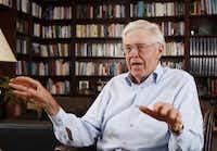 Charles Koch speaks in his office at Koch Industries in Wichita, Kansas.(Bo Rader/The Associated Press)