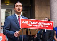 U.S. Representative Joaquin Castro speaks during a One Texas Resistance newsconference  at the Texas state capitol in Austin.(Ashley Landis/Staff Photographer)