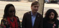 "<p><span style=""font-size: 1em; background-color: transparent;"">Andrew White spoke to reporters about gun-safety measures in Austin on Monday with Nicole Golden (right) of Moms Demand Action for Gun Sense in America, and Diana Earl. In 2016, Earl's son Dedrick, 22, was shot in the neck and killed after an argument at a North Austin apartment complex. </span></p>(Robert T. Garrett/Staff)"