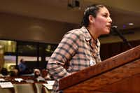 DACA recipient Zenaida Morelos, 31, spoke to the Irving ISD board of trustees during Monday's  meeting.(Ben Torres/Special Contributor)