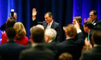 Sen. Ted Cruz was mentioned by Vice President Mike Pence during the Dallas County Republican Party's Reagan Day Dinner at the Omni Dallas on Feb. 17, 2018. (Nathan Hunsinger/Staff Photographer)