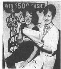 "Photo in April 3, 1969 edition of <i>The Dallas Morning News:</i> ""Picking Oscar winners: Dorothy Wilcoxen, left, and Susan Green, law firm secretaries, are among thousands of movie fans balloting in the Academy Award Sweepstakes.""(Dallas News Staff Photo)"