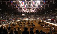 """Horses and riders fill the arena during the Grand Entry for the """"Best of the West"""" Invitational Ranch Rodeo at the Fort Worth Stock Show and Rodeo on January 16, 2009.(Sharon M. Steinman/Fort Worth Star-Telegram)"""