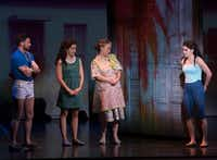 From left: Mauricio Martinez (Emilio), Claudia Yanez (Rebecca), Debra Cardona (Consuelo) and Christie Prades (Gloria) in<i>On Your Feet!</i>, presented by Dallas Summer Musicals at Fair Park Music Hall.(Rex C Curry/Special Contributor)