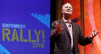 Southwest Airlines CEO Gary Kelly spoke to employees at a company annual rally at Verizon Theater in Grand Prairie on Feb. 26.(David Woo/Staff Photographer)