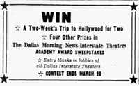 An advertisement in the March 5, 1956 edition of <i>The Dallas Morning News</i> for the Academy Award Sweepstakes.