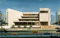 "A circa 1976 rendering of the J. Erik Jonsson central library(<p><span style=""font-size: 1em; background-color: transparent;"">Dallas Public Library - Texas/Dallas History and Archives Division/The Dallas Morning News Collection</span><br></p><p></p>)"