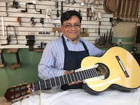 Arnulfo Rubio Orozco, who formerly worked in a tree farm in North Carolina is today one of Paracho's most respected guitar makers.(Alfredo Corchado/Staff)