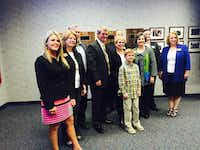 Allen ISD trustees stand with Scott Niven after he was named the lone superintendent finalist for the Allen district in November 2016.(Nanette Light)