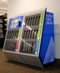 A laptop vending machine at Austin Central Library, Lake Flato & Shepley Bulfinch, architects, 2018. (Mark Lamster)