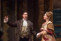 Nicholas Garza (Ruggiero), left, and Lyndi Williams Krause (Alcina), right, perform during a dress rehearsal of Handel's <i>Alcina</i>at Arts Mission Oak Cliff on Thursday, March 1, 2018. (Rex C. Curry/Special Contributor)(Rex C Curry/Special Contributor)
