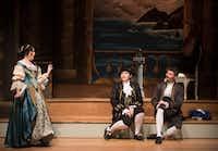 Jendi Tarde (Morgana), left, center, Hannah Ceniseros (Bradamante), center, and Joshua Hughes (Melisso), right, perform during a dress rehearsal of Handel's <i>Alcina</i>. (Rex C Curry/Special Contributor)