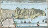 A 1738 map of Gibraltar. From <i>Gibraltar</i>, by Roy Adkins and Lesley Adkins.  (Roy Adkins and Lesley Adkins/Viking)