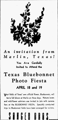 A 1942 ad welcoming everyone to the popular Bluebonnet Photo Fiesta from The Dallas Morning News archives.