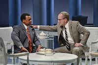 &nbsp;Shawn Hamilton and Brandon Potter perform in <i>All the Way</i>, a co-production of Dallas Theater Center and Houston's Alley Theatre, directed by Kevin Moriarty, at the Wyly Theatre March 3-27.(Karen Almond)