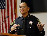 Dallas County Interim Sheriff Marian Brown spoke to her officers after she was sworn in on New Year's Eve. (Irwin Thompson/Staff Photographer)