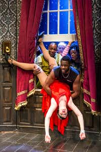 Clockwise from top left: Clifton Duncan, Jonathan Fielding, Ashley Bryant, Akron Watson and Amelia McClain in <i>The Play That Goes Wrong</i>, co-written by Mischief Theatre company members Henry Lewis, Jonathan Sayer, and Henry Shields, directed by Mark Bell. Shown on Broadway at The Lyceum Theatre in New York, N.Y. <i>The Play That Goes Wrong</i> is part of the AT&T Performing Arts Center's six-show 2018-19 Broadway Series.(Jeremy Daniel  )