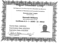 Homebuilder Kenneth Williams included this training certificate in his application to work with the city of Dallas. The consultant group is run by his friend and city employee Carl Wagner. The city would not say whether this arrangement would be allowed under its ethics code.